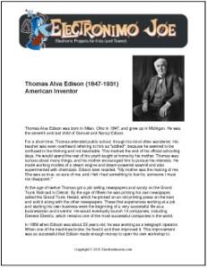 Thomas Alva Edison | Biography and Free Worksheets for Kids